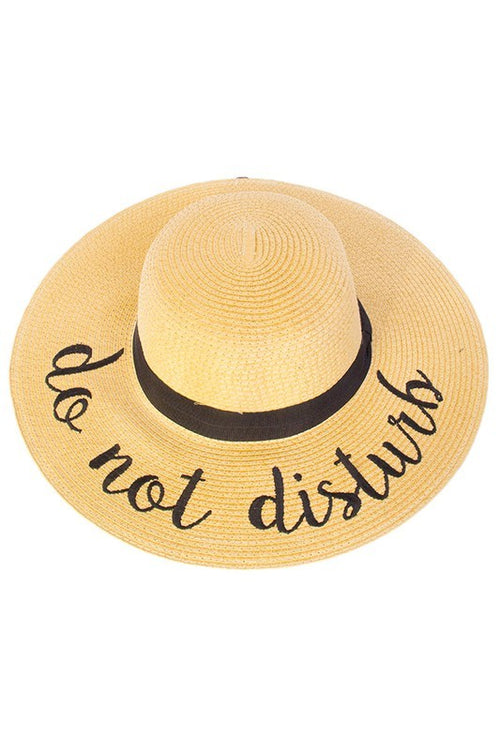 Lettered Straw Floppy Sun Hat (final sale)