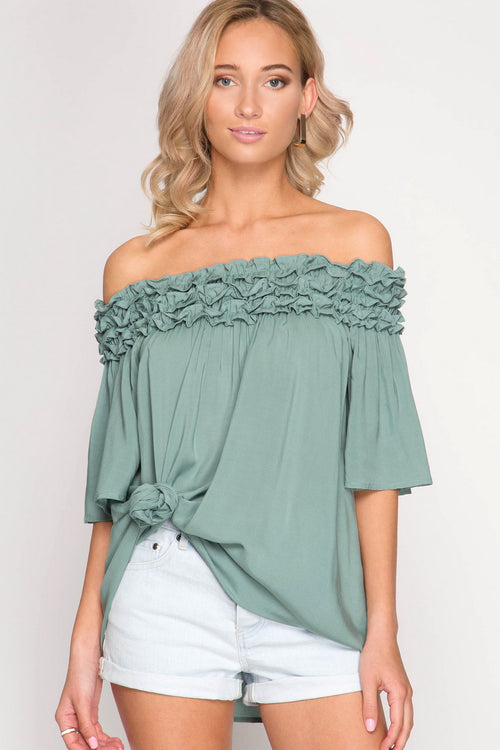 Slate Off Shoulder Ruched Tunic Top (final sale)