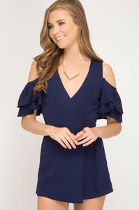 Navy Ruffled Cold Shoulder Romper
