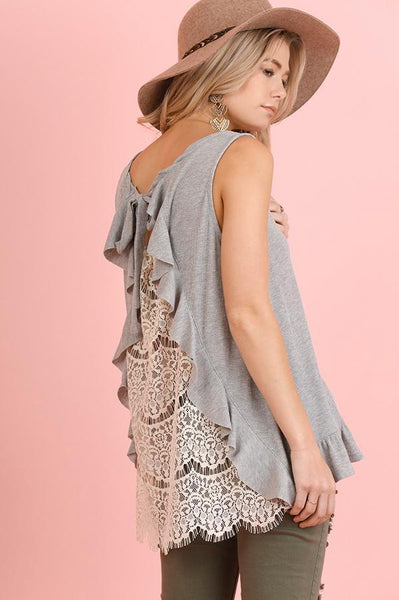 Sleeveless Grey Crochet Back Top
