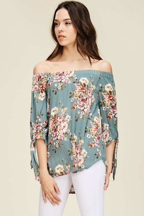 Sage Floral Smocked Off Shoulder Top