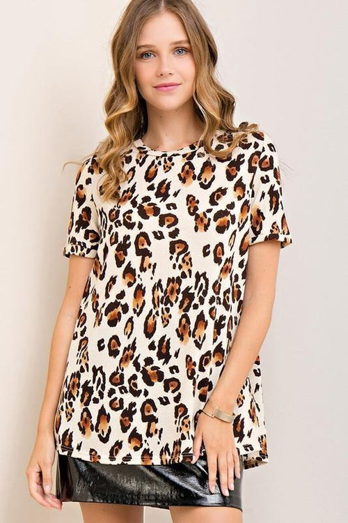 Leopard Print Short Sleeve Top (final sale)