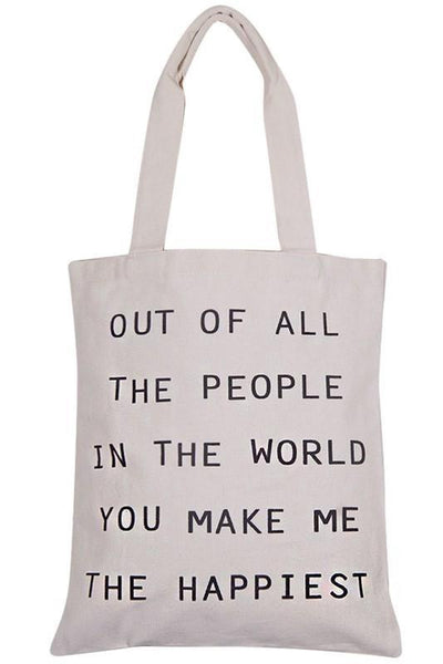 You Make Me Happy Tote Bag (final sale)
