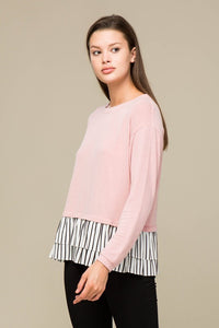 Blush Stripe Ruffle Hem Top