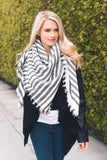 Black Soft Stripe Blanket Scarf (final sale)