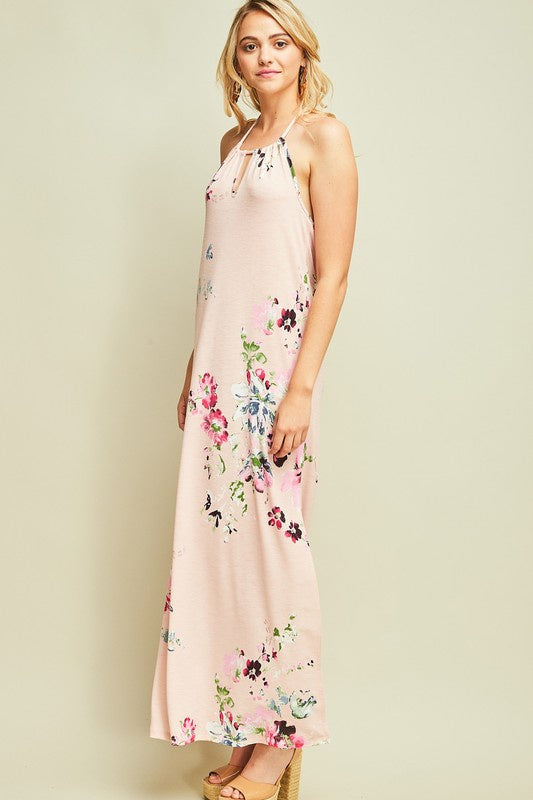 Blush Flower Print Halter Maxi Dress