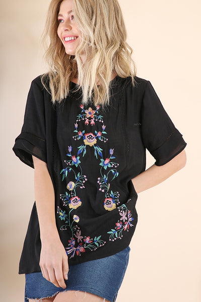 Black Floral Embroidery Short Sleeve Top