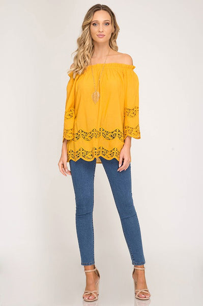 Mustard 3/4 Sleeve Off The Shoulder Top
