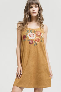 Camel Embroidered Suede Strappy Shift Dress