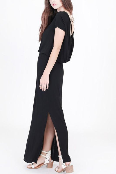 Black Drape Back Maxi Dress (final sale)