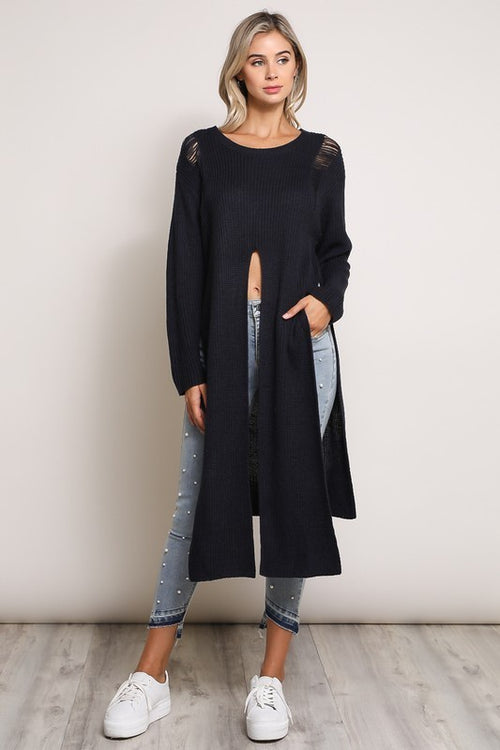 Navy Front Slit Destructed Tunic