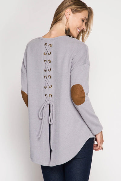 Grey Lace Up Elbow Patch Top