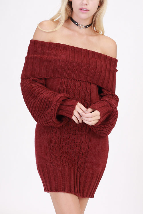 Burgundy Off Shoulder Sweater Dress (final sale)