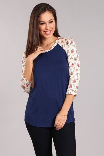 Navy/Blue Floral Sleeve Baseball Top