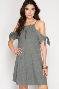 Slate Short Sleeve Ribbed Cold Shoulder Dress