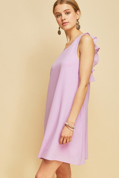Lavender Key Hole Ruffle Back Dress
