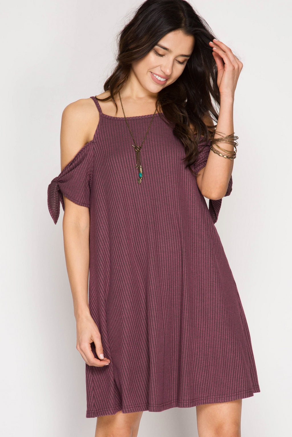 Mauve Short Sleeve Ribbed Cold Shoulder Dress