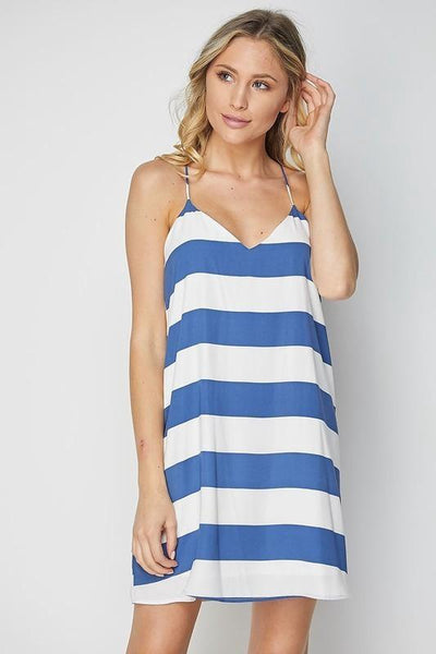 Blue Low V-Neck Stripe Shift Dress (final sale)