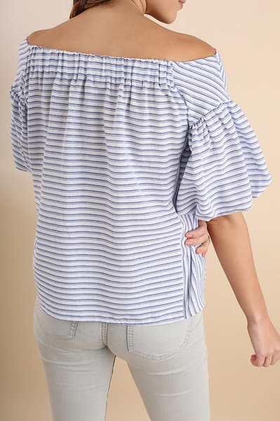 Blue Striped Balloon Sleeve Top (final sale)