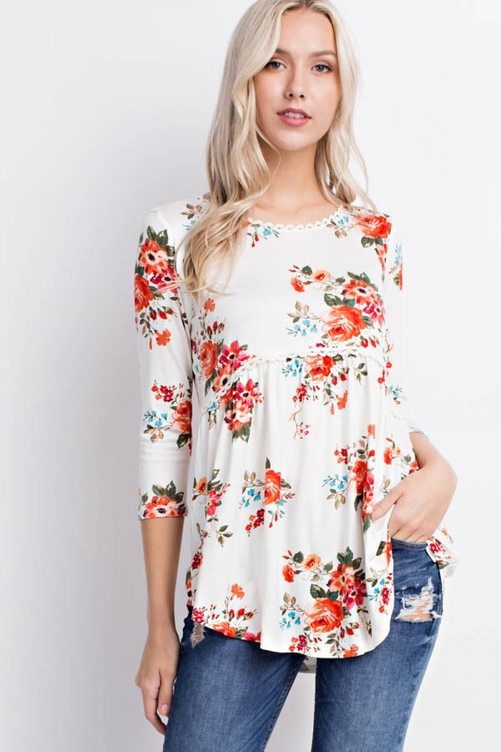 Floral Off White Lace Trim Tunic