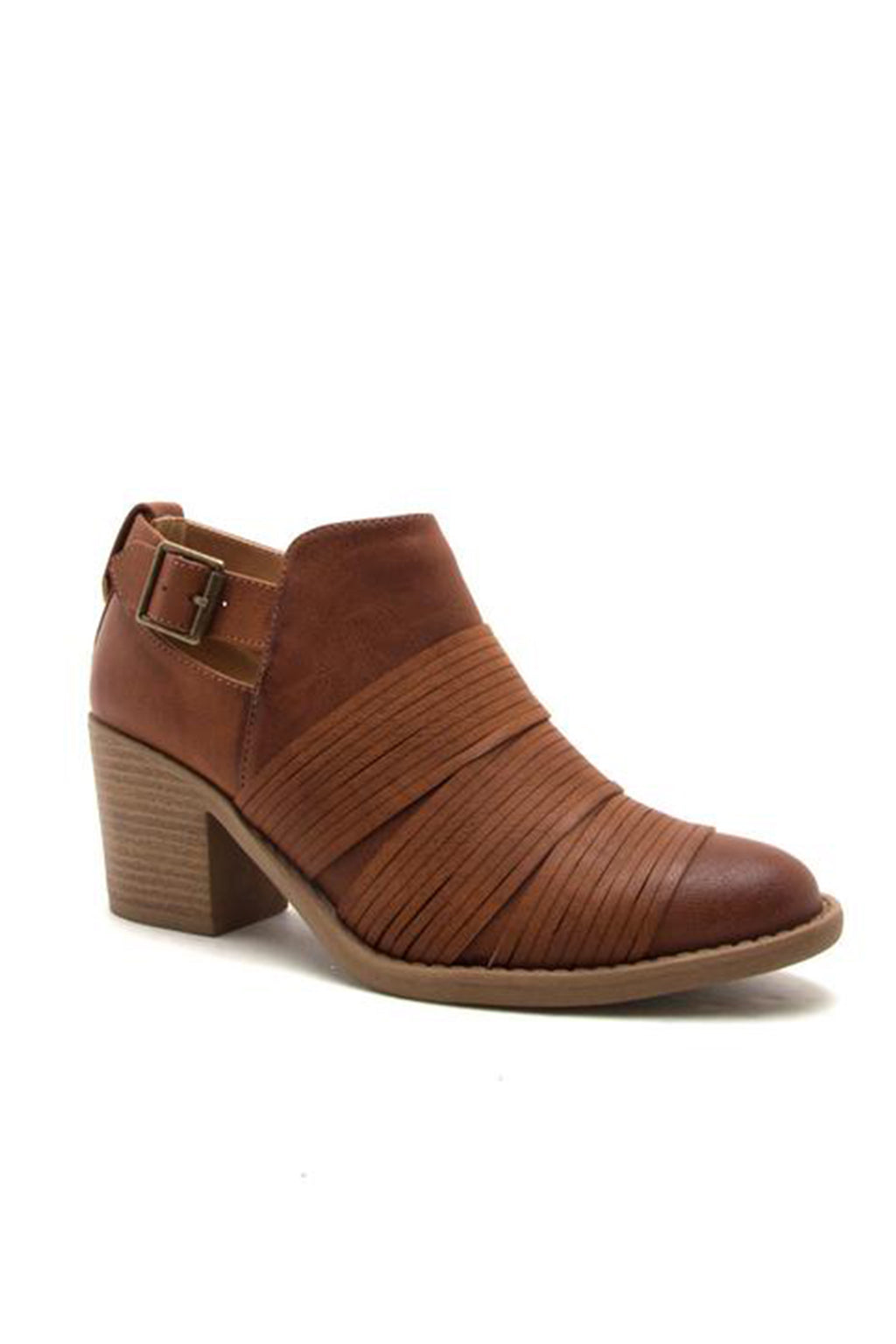 Cognac Burnish Strapped Ankle Bootie
