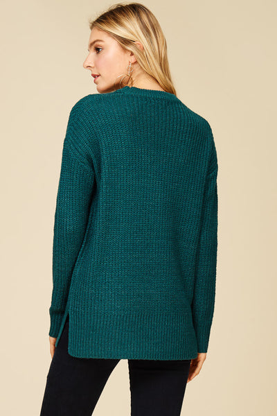 Teal Choker Collar Sweater (final sale)