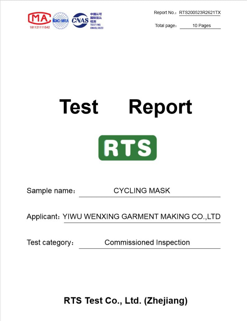 Cycling Mask testing report