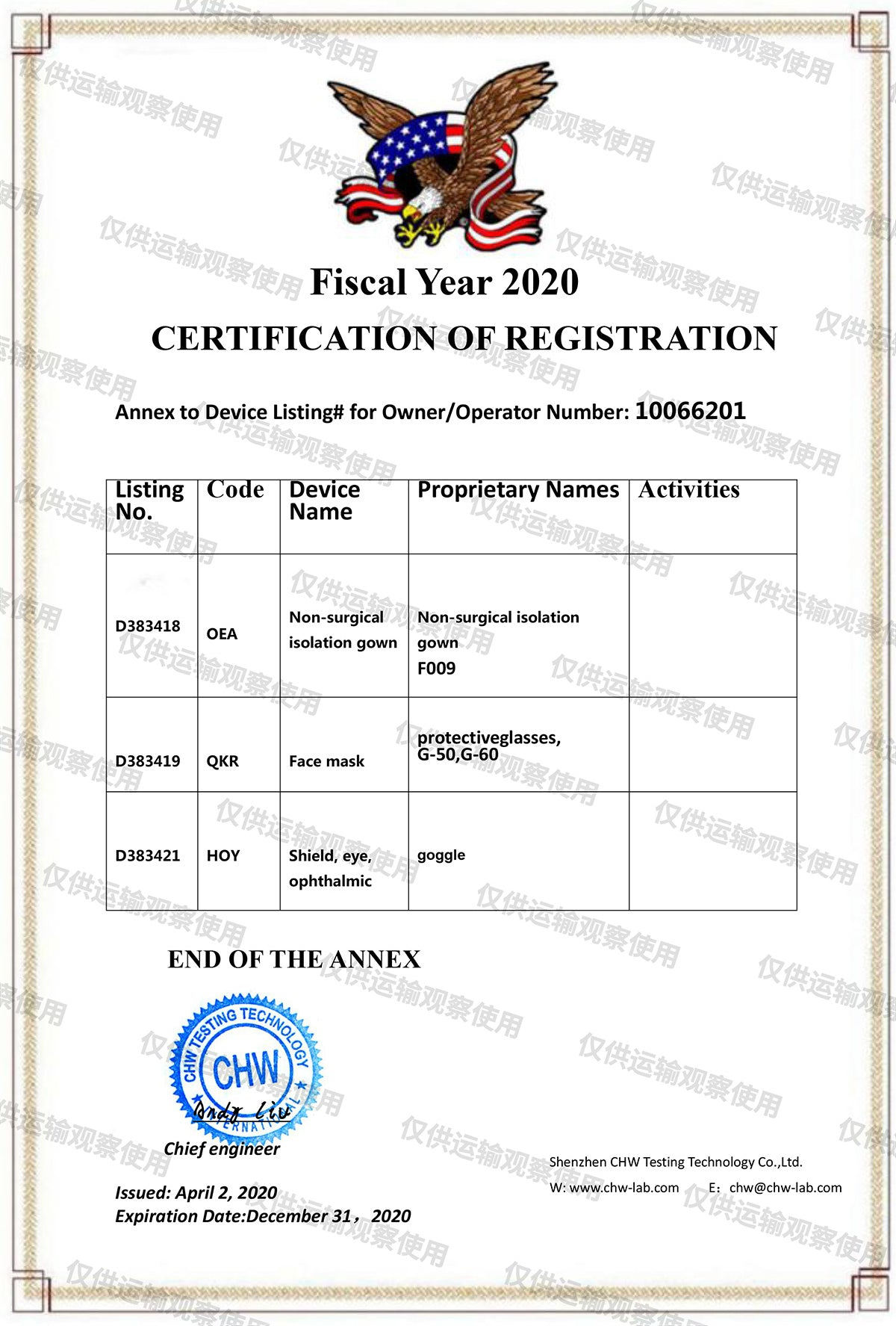 FDA Registration Certificate Fiscal Year 2020