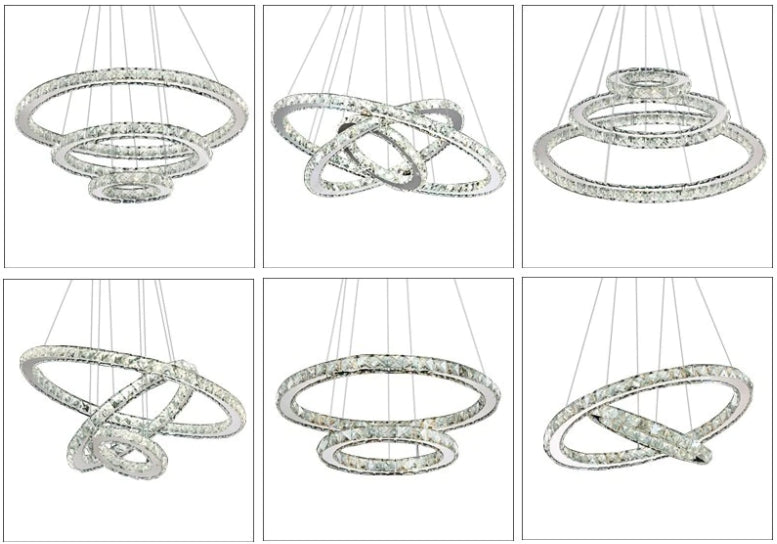 Modern Crystal 3 rings LED Chandelier hanging styles