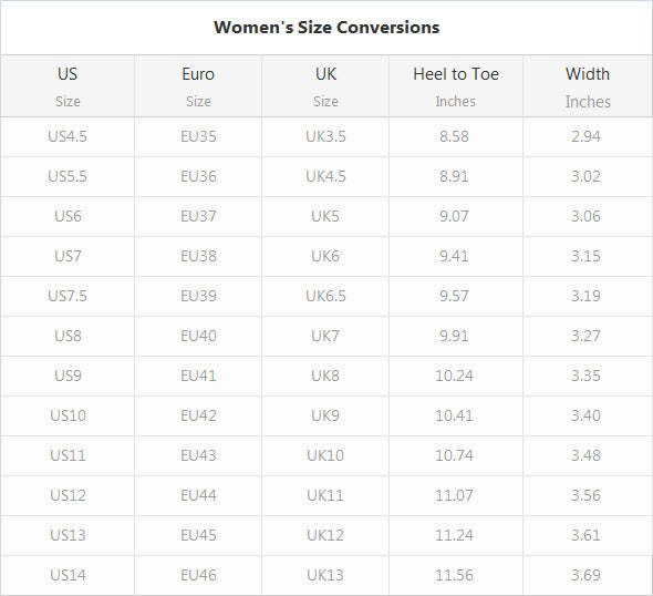 Women's Slip On Shoes size chart