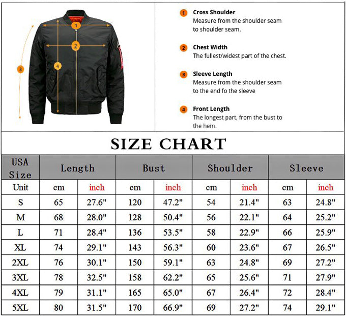 Thicken Bomber Jacket size chart