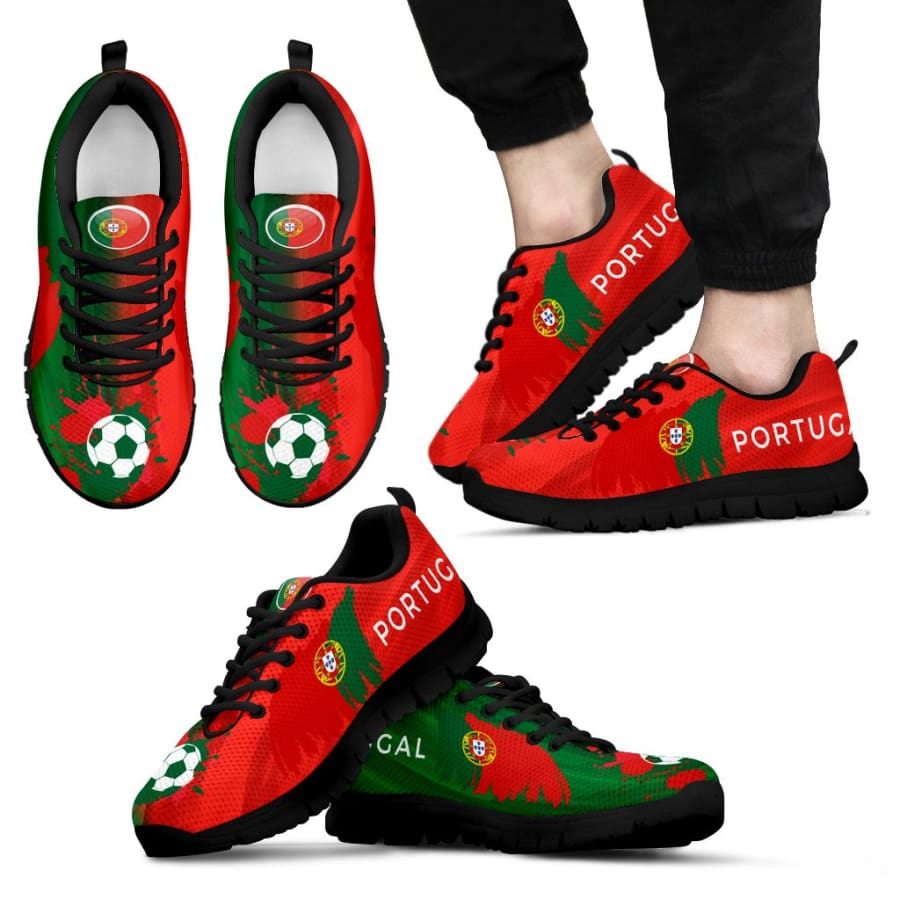 2018 World Cup Portugal Sneakers|Running Shoes For Men Women Kids - Mens Sneakers - Black - US5 (EU38)