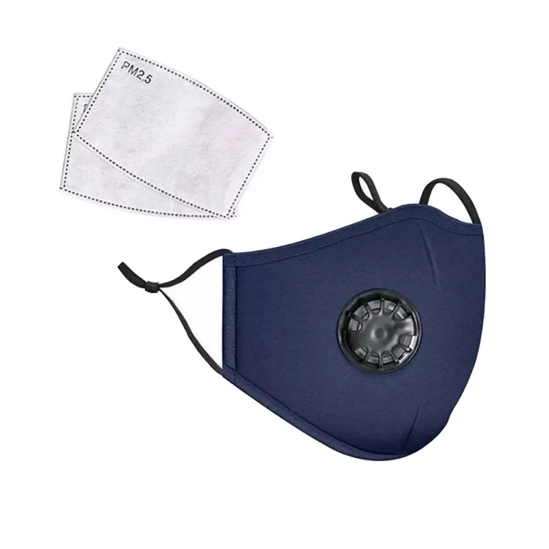 Blue PM2.5 Filter Cotton Face Mask with Valve Ship from USA
