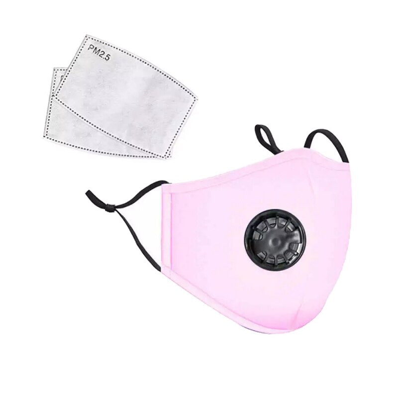 Pink PM2.5 Filter Cotton Face Mask with Valve Ship from USA