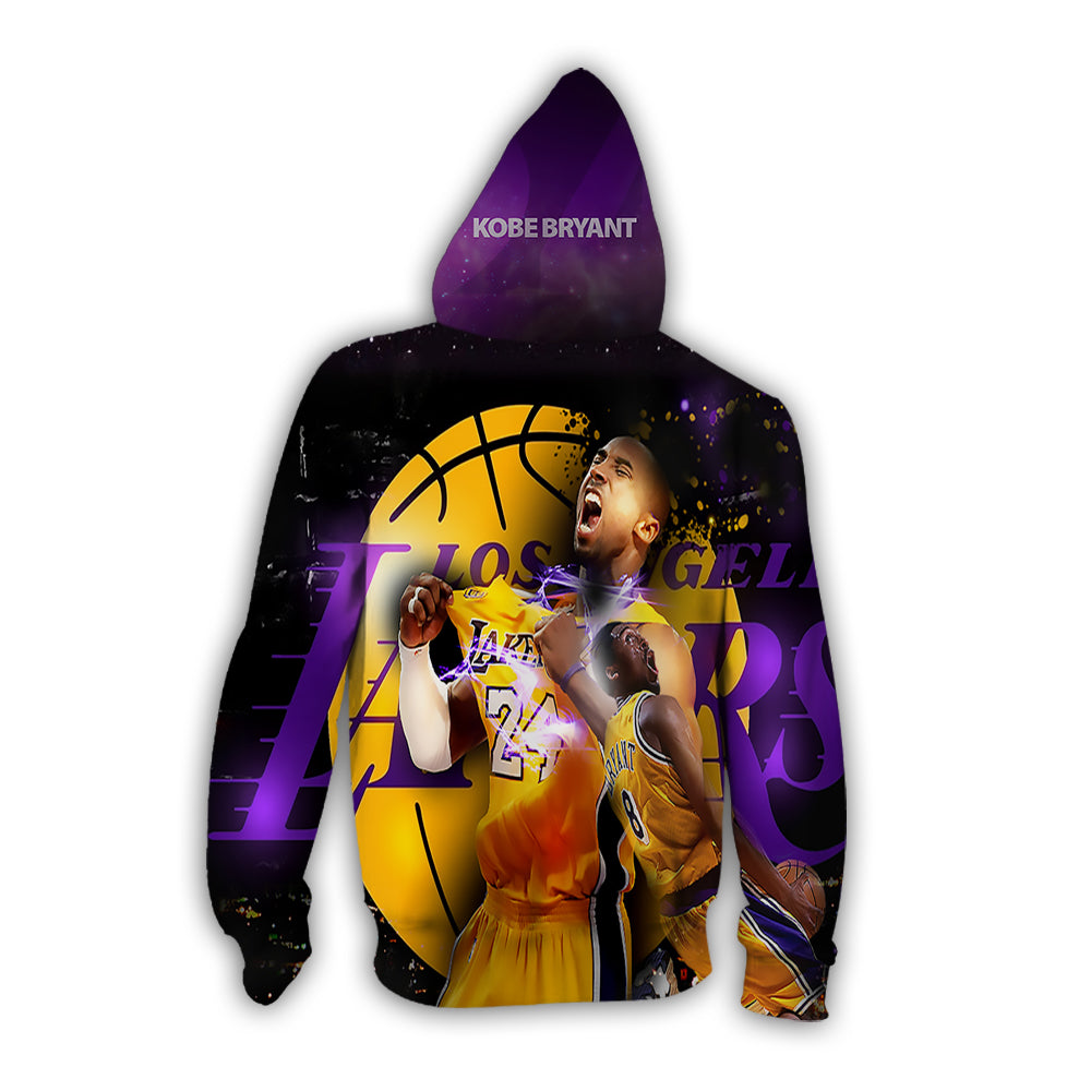 3D Lakers kobe bryant hoodies full-zip