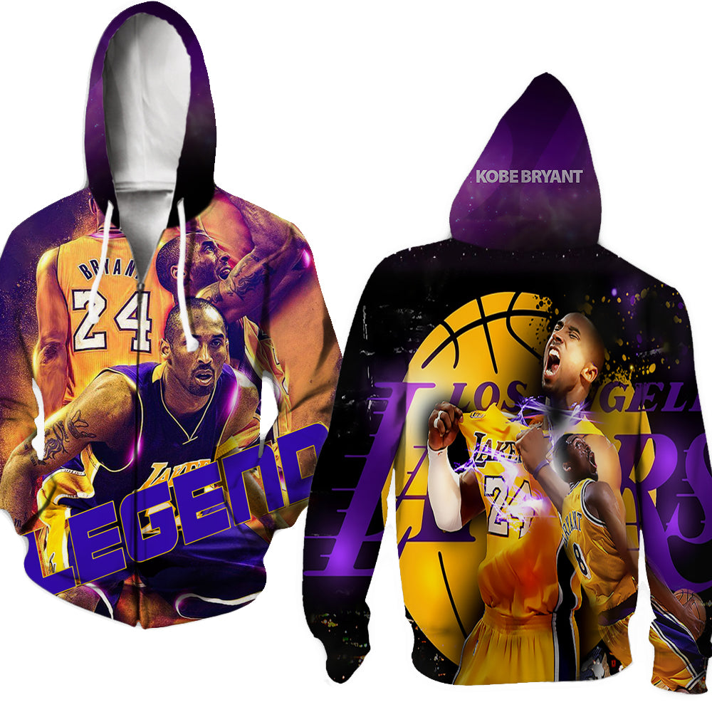 3D kobe bryant hoodies full zip