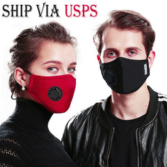 Ship Via USPS 5-Layer PM2.5 Activated Carbon Filter Mouth Mask With Valve| Meets KN95 Reusable Anti Flu/Haze/Dust/Fog Respirator Mouth-muffle