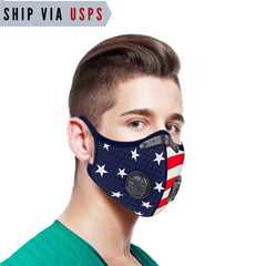 Ship Via USPS 5-Layer PM2.5 Filter US Flag Sports Mask With Valves Mens Womens| Independence Day Face Mask
