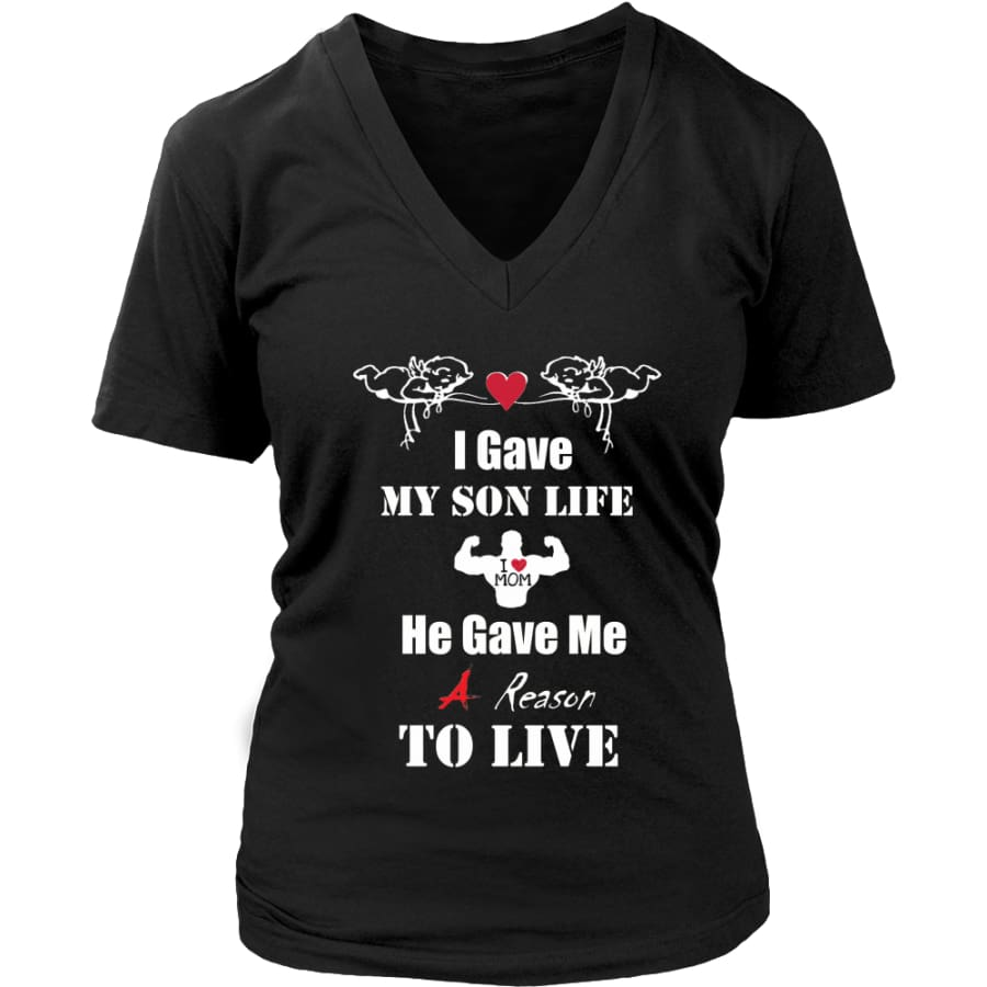 A Reason To Live - Hot Mothers Day Gift Womens V-Neck T-Shirt (8 colors) - District / Black / S