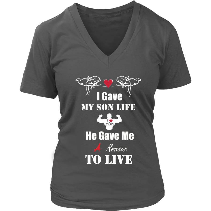 A Reason To Live - Hot Mothers Day Gift Womens V-Neck T-Shirt (8 colors) - District / Charcoal / S
