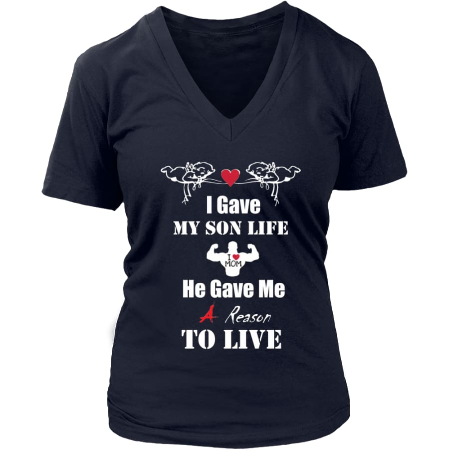 A Reason To Live - Hot Mothers Day Gift Womens V-Neck T-Shirt (8 colors) - District / Navy / S
