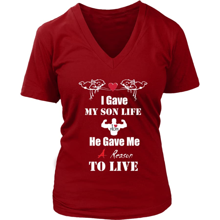 A Reason To Live - Hot Mothers Day Gift Womens V-Neck T-Shirt (8 colors) - District / Red / S