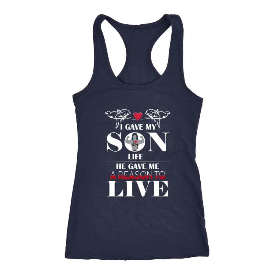 A Reason To Live - Perfect Mothers Day Gift Racer-back Tank (6 Colors) - Next Level Racerback / Navy / XS