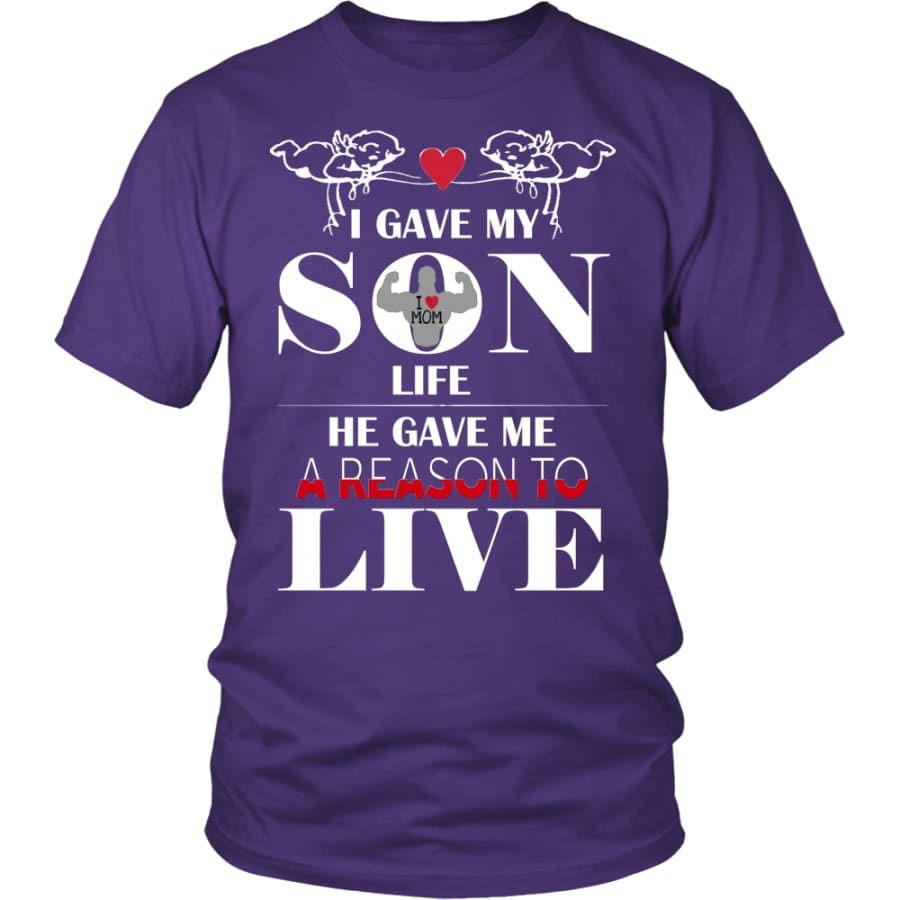A Reason To Live - Perfect Mothers Day Gift Unisex Shirt (12 Colors) - District / Purple / S