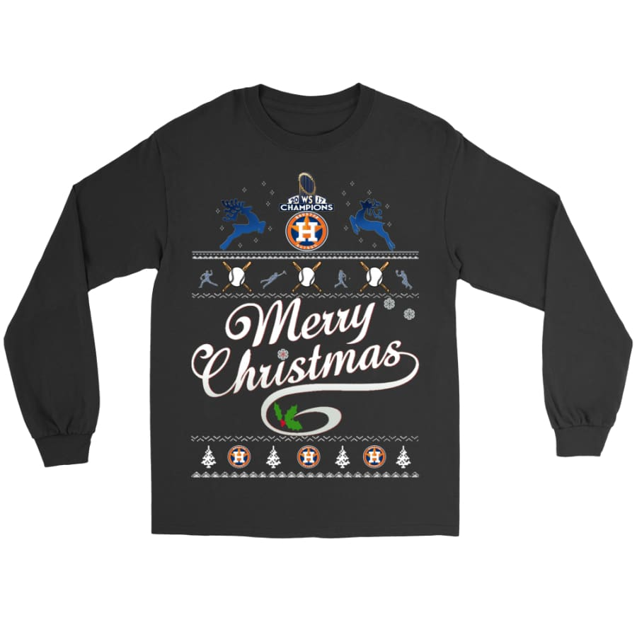 Astros Champions 2017 Merry Christmas Gildan Shirt (8 colors) - Long Sleeve Tee / Black / S