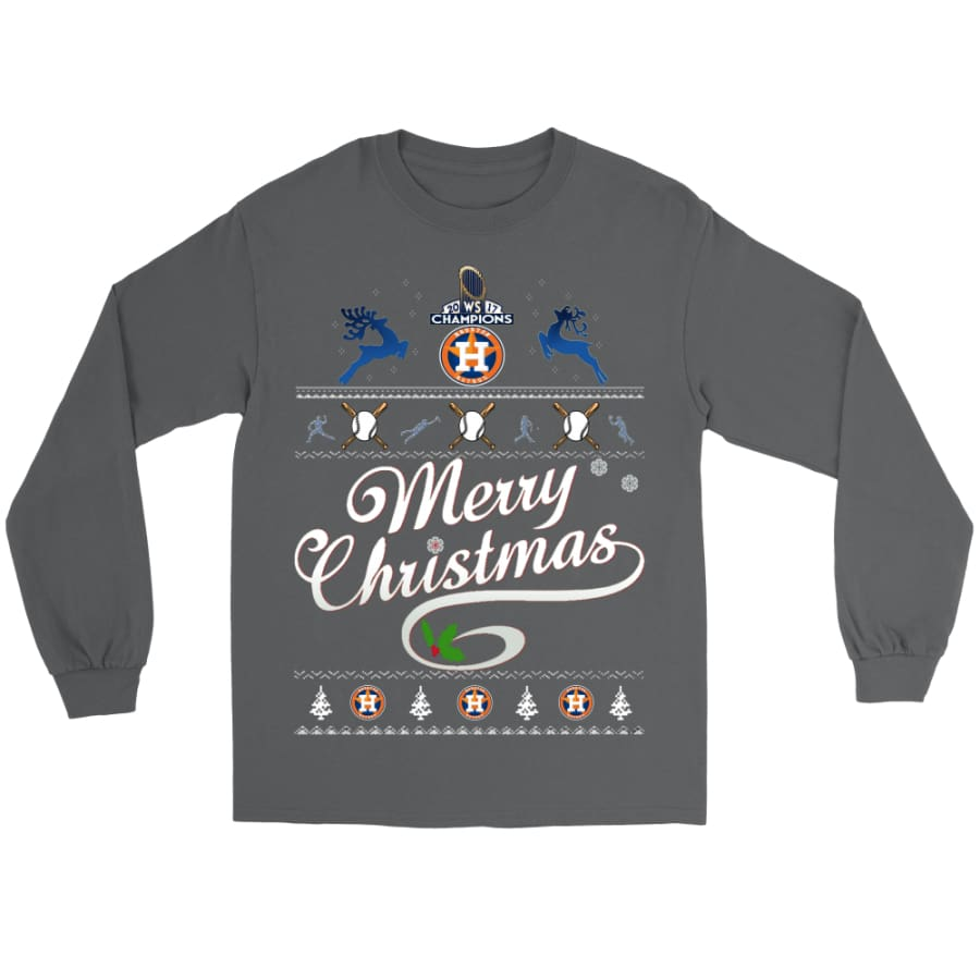 Astros Champions 2017 Merry Christmas Gildan Shirt (8 colors) - Long Sleeve Tee / Charcoal / S