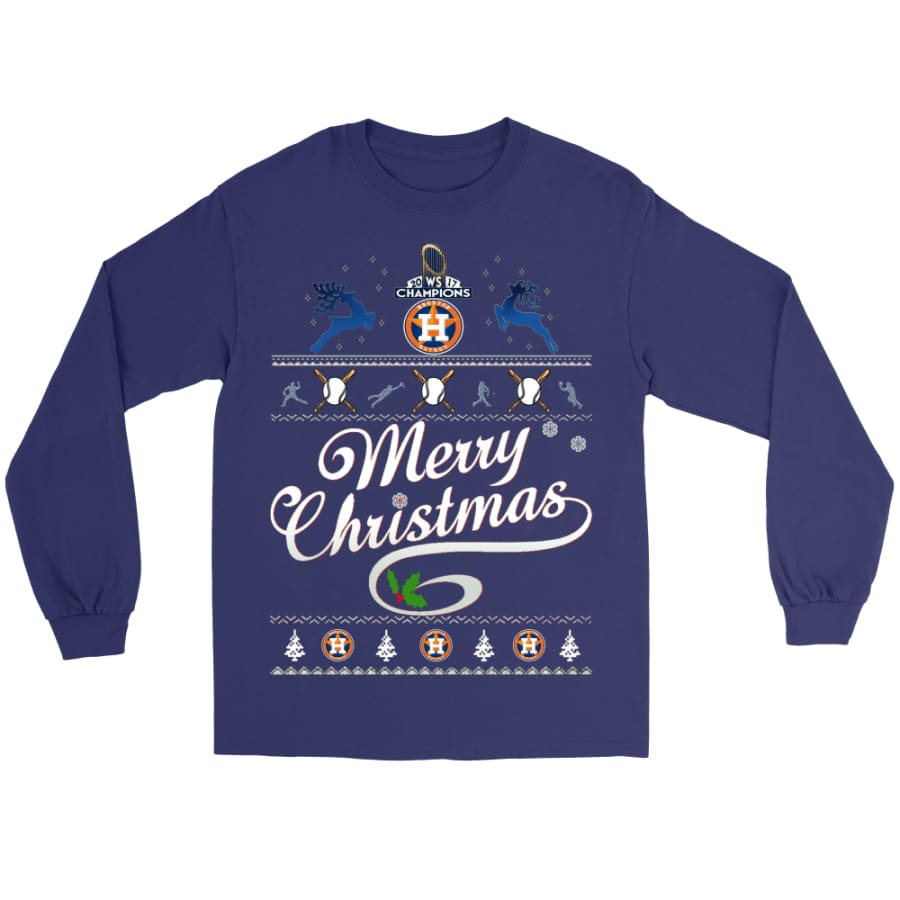 Astros Champions 2017 Merry Christmas Gildan Shirt (8 colors) - Long Sleeve Tee / Purple / S