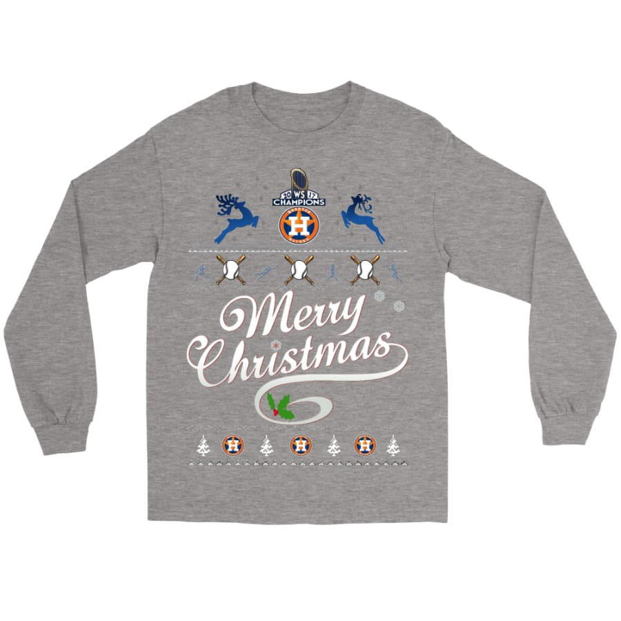 Astros Champions 2017 Merry Christmas Gildan Shirt (8 colors) - Long Sleeve Tee / Sports Grey / S