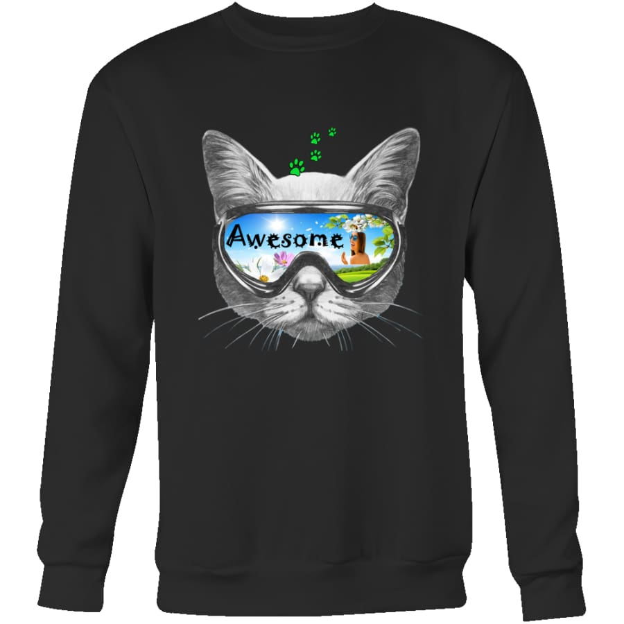 Awesome Cat Unisex Crewneck Sweatshirt (4 colors) - Black / S