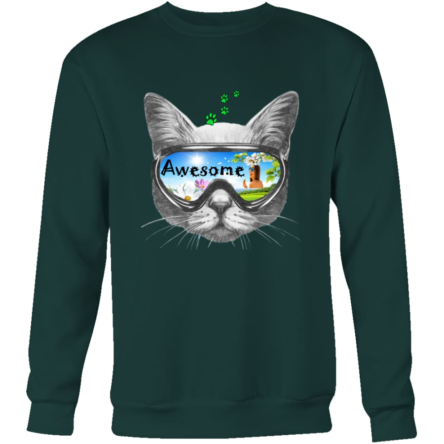 Awesome Cat Unisex Crewneck Sweatshirt (4 colors) - Dark Green / S